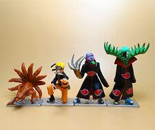 """lot of 4 Naruto  PVC Figure Statue Uzumaki Naruto Zetsu Kurama 3""""-5"""""""