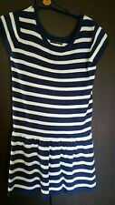 Beautiful ladies navy white knitted dress  sz 12 New with Tags