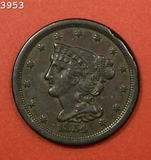 "1854 Braided Hair Half Cent ""AU++ Rim Damage"" *Free S/H After 1st Item*"