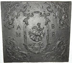 gusseiserne Platte OFENPLATTE TAKENPLATTE REITER 1756 70,5 cm x 64 cm 24 kg