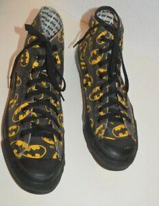 Vintage 1980's Converse High Top DC Batman Yellow & Black Mens Sz 10 * Rare *