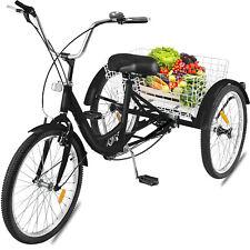 "Adult Tricycle 24"" 7 Speed Trike Bike Shimano 3 Wheel Cruise Bicycle Basket"