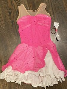 Hot pink and white Holligraphic Dot Del Arbour Ice Skating figure Dress 8-10