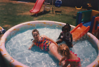 POOL KIDS Found PHOTOGRAPH Color FREE SHIPPING Backyard Snapshot VINTAGE 712 16