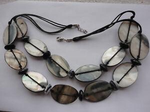 "Black / grey MOP + grey agate spacers 56 gram black corded 20"" chakra necklace"