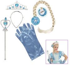 PRINZESSIN SET BLAU KINDER Krone Zopf Handschuhe Stab Karneval Zubehör  # 96563