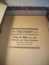 VINTAGE FILE BOOK DESK SECRETARY VICTORY FILE WALTER R MILLER BINGHAMTON NY