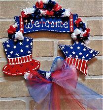 Americana Welcome Wreath Wall Door Wood Sign Hanging Hanger Patriotic Plaque