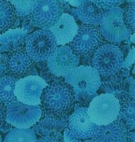 Kona Bay Collette Collection Blue Floral Fabric Tone-on-Tone Zinnias BTY