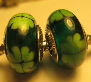 2 Authentic Pandora Murano Glass Bead Charm Luck Clove Irish Green