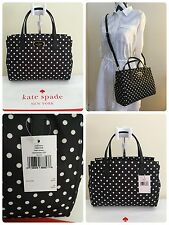 New Kate Spade Blake Avenue Small Loden Black Polka Dot Nylon Purse Bag Satchel