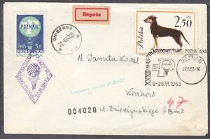 POLAND 1963.VI.22 Ballon POZNAN, Mail Cat.37b Start POZNAN - DALKI landing