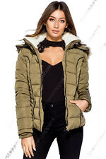 New Womens Quilted Padded Puffa Jacket Fur Hood Parka Coat Size 8 10 12 14 Khaki