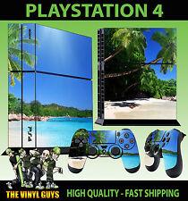 PS4 Skin Paradise Beach Tropical Landscape  Sticker New + Pad decal Vinyl STOOD
