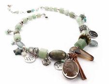 Versilberte Modeschmuck-Halsketten & -Anhänger aus Leder für Damen