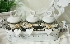 Vorratsgläser 3-Set Bonboniere mit Deckel Weiß Glas Tablett Landhaus Shabby