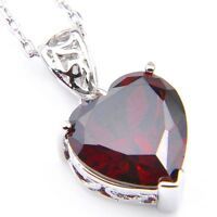 Genuine Natural Heart Fire Red Garnet Gemstone Platinum Plated Necklace Pendant