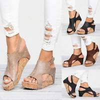 Retro Womens Leather Ankle Strap Peep Toe Sandals Summer Platform Wedge Shoes