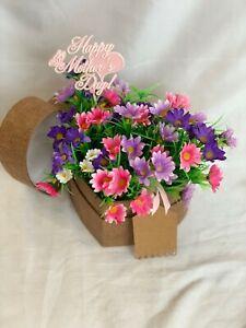 Artificial Silk Flower Hat Box Heart Shaped Gift Daisy Mum Nan Gran Grandma