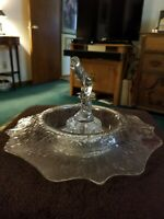 Cambridge Crystal Bashful Charlotte Flower Frog with Etched Vintage Console Bowl