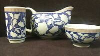 Vintage Japanese Ceramic Creamer, Tea Cup, & Yunomi Tea Cup Blue Asian Mark