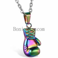 Rocky 3D Boxing Glove Charm Stainless Steel Men's Pendant Necklace 22inch Chain