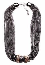STATMENT CHUNKY CHAIN GUNMETAL GLAM CHOKER NECKLACE GOLD/SILVER RINGS (CL26)