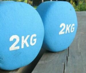 Fitness MAD 2 X 2kg Neoprene Coated Dumbbells Hand Weights Pair