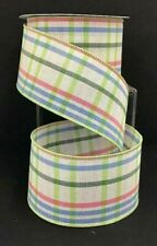 """Linen Check Wired Ribbon~Green Multi Color~2 1/2"""" W x 9 yd"""