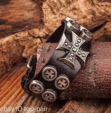 Mens Punk Biker Cross Studded Genuine Leather Bracelet Wristband Cuff Black