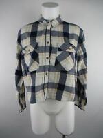 Forever 21 Women's sz M Ivory Cotton Button-Down Plaid Flannel Shirt Top