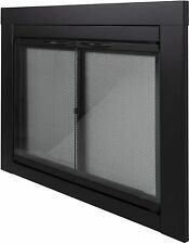 Alpine AN-1012 Large Glass Screened Fireplace Door, Black