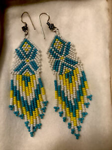 """Southwest Native Style Earrings Turquoise Yellow White 3""""Seed Bead Estate Purch"""