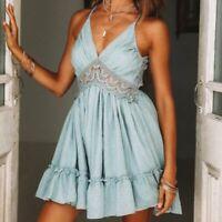 Bombastic Blue Babydoll Backless Summer Mini Sun Dress