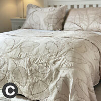 Luxury Pale Gold Shimmer Embroidered Leaf Silk Feel Double King Bedspread Set
