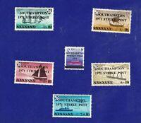 GB288) 1971 Postal Strike, Guernsey Herm Island Southampton, Set of 6.
