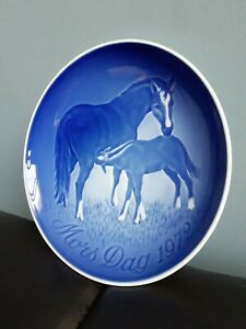 1972 B & G Copenhagen Porcelain Mothers Day MORS DAG Mini Plate horse and foal