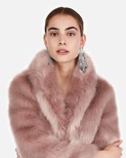 Epress Long Faux Fur Coat SOFT PINK BLUSH ROSE SIZE Petite XS