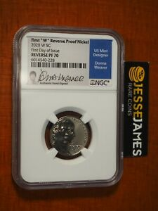 2020 W REVERSE PROOF JEFFERSON NICKEL NGC PF70 DONNA WEAVER FIRST DAY OF ISSUE