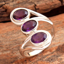 Faceted Amethyst Gemstone 925 Sterling Silver Handmade Ring Size US 6.75