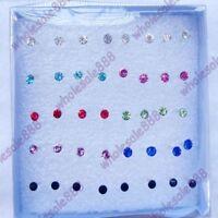 Beauty 20 Pairs Wholesale Lots Rhinestone Stud Earrings Womens Jewellery Gift