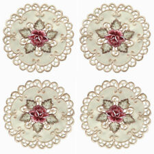 4pcs Placemat Embroidery Rose Oval Round Doily Fabric Cup Coaster Table Cover