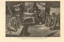 1884 ANTIQUE PRINT- CETEWAYO LAID OUT IN HIS HUT AFTER DEATH