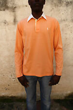 Polo Ralph Lauren Mens Long Sleeved Polo Top Cotton Auth Peach Italy L Large