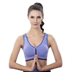 Women Zip Front Sports Bra Post Surgery Bra Wireless Padded Running Yoga Bra New