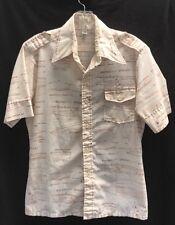 Vtg 70's Sailing Dingy Plans Print Shirt~Medium~50/50 Cotton Poly