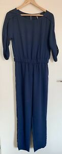 Halston Heritage Cutout Sleeve One Piece Jumpsuit Blue Pants Size 4 Casual Small