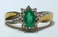 14k Yellow Gold Genuine Birthstone Ring may Emerald Vintage Antique Flower
