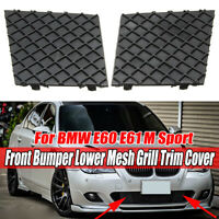 Pair For BMW E60 E61 M Sport Black Front Bumper Cover Lower Mesh Grill Trim