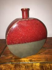 ROUND VASE RED GREY/BLACK ETHNIC POTTERY RUSTIC FUNNEL NECK 24X20CM HEAVY SQUAT